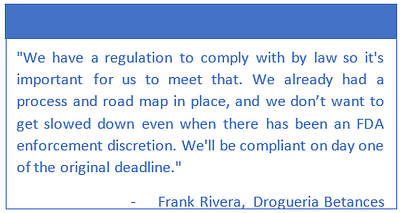 FDA DSCSA Enforcement Discretion Quote from Frank Rivera, Drogueria Betances
